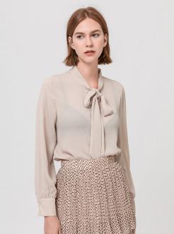 三福2019夏装新品女雪纺长袖衬衫 带领结气质衬衣女