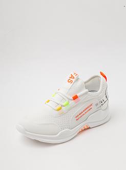 三福2019女夏运动休闲学生时尚撞色针织运动鞋跑步女鞋