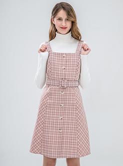 三福2019夏装新品女格纹收腰背带裙 气质ol连衣裙女