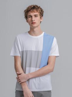 三福2019夏装新品男色块拼接短袖T恤 潮流圆领上衣男