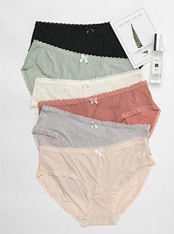 三福 女三角内裤 甜美纯色蕾丝花边轻薄贴身无痕面膜底裤