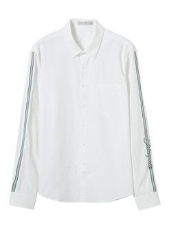 三福2019春装新品男侧边织带衬衫 潮流休闲长袖衬衣男