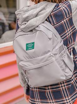 三福飒达夏2018校园风牛津料字母贴标防水双肩包背包
