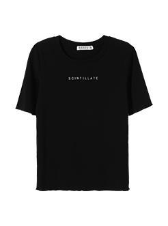 三福2019夏装新品女印花短袖T恤 木耳边紧身修身上衣女
