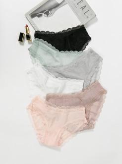 三福 女中腰半平角内裤 性感镂空竖条纹舒适贴身底裤