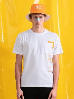 三福2019夏裝新品男口袋撞色印花短袖T恤 潮流上衣男