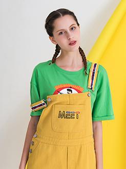 三福2019夏装新品女撞色肩带背带裙 学生休闲连衣裙女