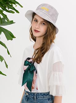 三福2019夏装新品女荷叶袖圆领T恤 立体蝴蝶结短袖上衣女