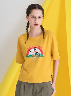 三福2019夏装新品女休闲宽松短袖T恤 印花翻边袖上衣女