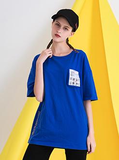 三福2019夏装新品女创意印花短袖T恤 休闲宽松上衣女
