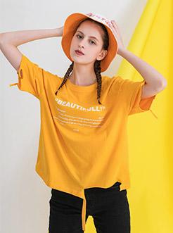 三福2019夏装新品女字母印花短袖T恤 时尚破烂边上衣女