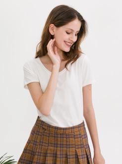 三福2019夏装新品女圆领短袖T恤 简约条纹休闲上衣女