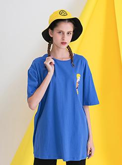 三福2019夏装新品女休闲宽松短袖T恤 趣味卡通印花上衣女