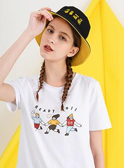 三福2019夏装新品女休闲短袖T恤 趣味印花上衣女