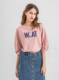 三福2019夏装新品女宽松中袖T恤 休闲印花五分袖上衣女