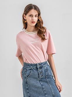 三福2019夏装新品女宽松短袖T恤 撞色圆领印花上衣女