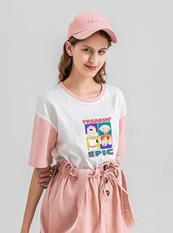 三福2019夏装新品女撞色短袖T恤 学生卡通印花上衣女
