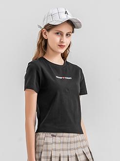三福2019夏装新品女字母印花短袖T恤 学生圆领短款上衣女
