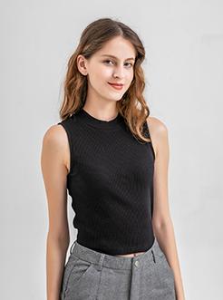 三福2019夏装新品女半高领条纹背心 无袖宽肩打底上衣女