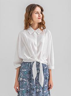 三福2019夏装新品女下摆绑结中袖衬衫 时尚纯色衬衣女