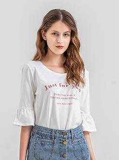 三福2019夏装新品女条纹印花短袖T恤 荷叶袖修身上衣女