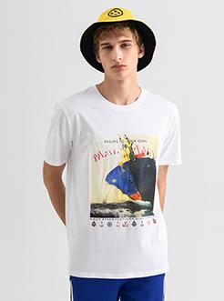 三福2019夏装新品男航海主题印花短袖T恤 潮流上衣男
