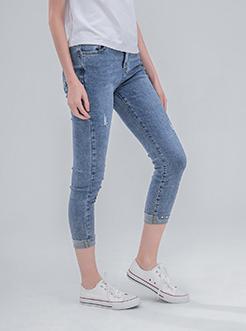 三福2019夏装新品女铆钉裤脚牛仔裤 修身简约九分裤女