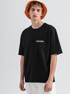 三福2019夏装新品男撞色印花短袖T恤 潮流口袋上衣男