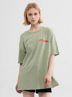三福2019夏装新品女烫金印花短袖T恤 韩版休闲宽松上衣女