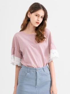 三福2019夏装新品女蕾丝袖口短袖T恤 简约休闲上衣女