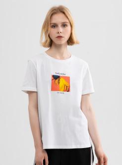 三福2019夏装新品女任务印花短袖T恤 潮流韩版休闲上衣女