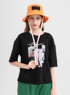 三福2019夏装新品女人物印花中袖T恤 潮流韩版宽松上衣女