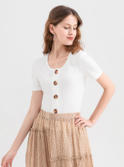 三福2019夏装新品女单排扣短袖T恤 韩版紧身打底上衣女