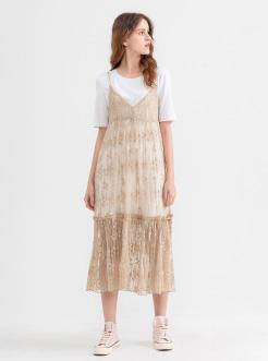 三福2019夏装新品女蕾丝连衣裙两件套 甜美中长裙套装女