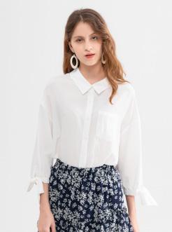 三福2019夏装新品女条纹中袖衬衫 袖口系带宽松上衣女