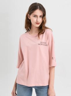 三福2019夏装新品女创意印花中袖T恤 学生圆领休闲上衣女