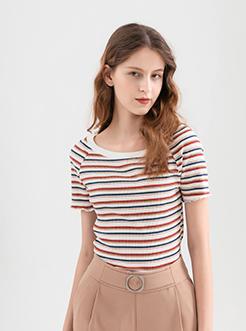 三福2019夏装新品女条纹短袖T恤 木耳边船领修身上衣女