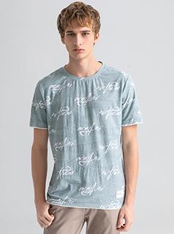 三福2019夏装新品?#26032;?#29256;英文印花短袖T恤 潮流上衣男