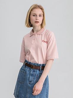 三福2019夏装新品女撞色印花短袖T恤 休闲宽松POLO衫女