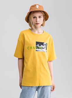 三福2019夏装新品女人物印花短袖T恤 宽松棉质圆领上衣女