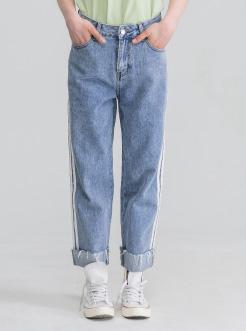 三福2019夏裝新品女撞色織帶牛仔褲 寬松直筒九分褲女