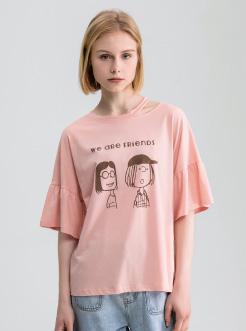 三福2019夏装新品女荷叶袖镂空T恤 卡通印花休闲上衣女