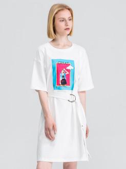 三福2019夏装新品女腰带印花连衣裙 时尚短袖中长裙女