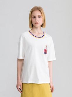 三福2019夏装新品女撞色圆领印花短袖T恤 潮流上衣女