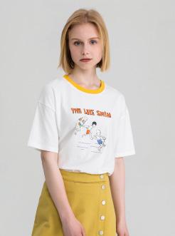 三福2019夏装新品女撞色圆领短袖T恤 卡通印花学生上衣女