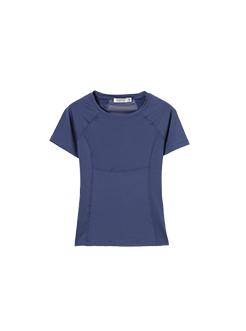 三福2019夏装新品女分割拼接修身短款T恤 瑜伽服上衣女