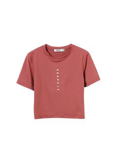 三福2019夏装新品女印花修身短款T恤 潮流瑜伽服上衣女