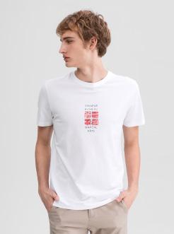 三福2019夏装新品男撞色印花短袖T恤 潮流圆领上衣男