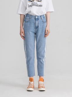 三福2019夏裝新品女撞色側邊條牛仔長褲 修身休閑褲女