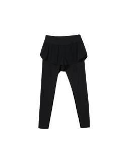 三福2019夏装新品女假两件瑜伽紧身裤 跑步运动健身裤女